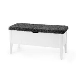 KLINTE bänk vit 90 cm ulltyg mörkgrå