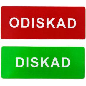 Diskad/odiskad färgad/vit text