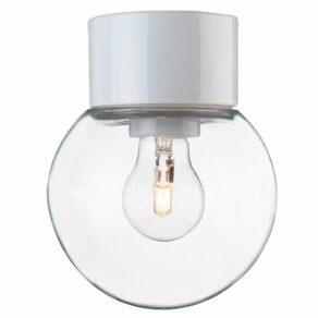 Classic Glob klarglas Ø 150mm vit IP54 rak, E27