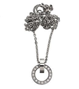 Eternity orbit necklace short steel