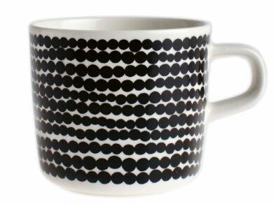 Oiva/Siirtolapuutarha coffee cup 2 dl white, black/räsymatto