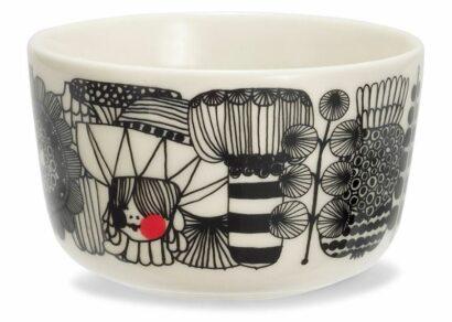Oiva/Siirtolapuutarha bowl 2,5 dl white, black, red