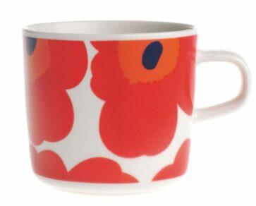 Coffee cup 2dl Unikko vit/röd/blue
