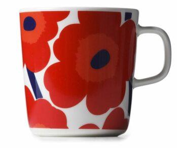 Oiva/Unikko mug 4 dl white, red