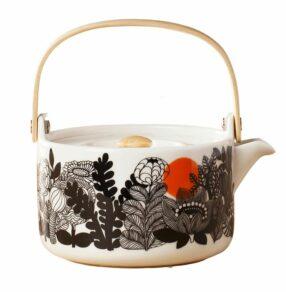 Oiva/Siirtolapuutarha teapot 7 dl white, black, orange