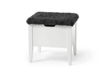 KLINTE bänk Vitlack 45cm/Fårpälsimitation Bror grå