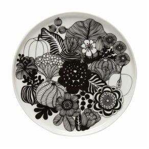 Oiva/Siirtolapuutarha plate 20 cm white, black