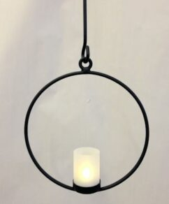 Ljusring häng D23 cm m glas svart
