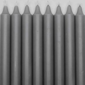Kronljus 100% stearin m.grå 28cm