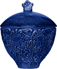 Blå spets skål med lock 60cl