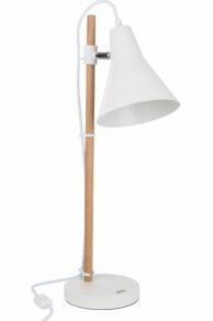 Lampa träfot,metallskärm h59 cm,vit