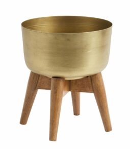 Planter on stand small brass/wood