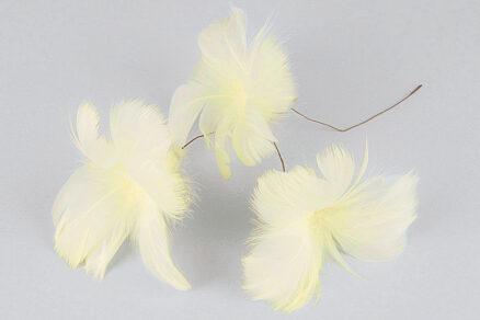 Fjäder/Tråd Blom Ljusgul 12st