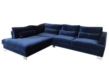 Sits Brandon soffa, SET2, Classic velvet 11 d.blue, Ben chrome no84 Höjd 80cm