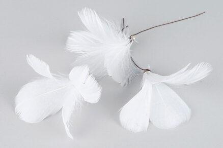 Fjäder/Tråd Blomma Vit (12st)