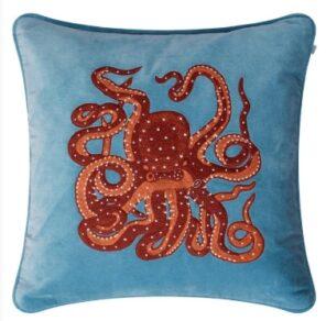 Kuddfodral Octopus – Heaven Blue/Orange/Rose 50×50 cm