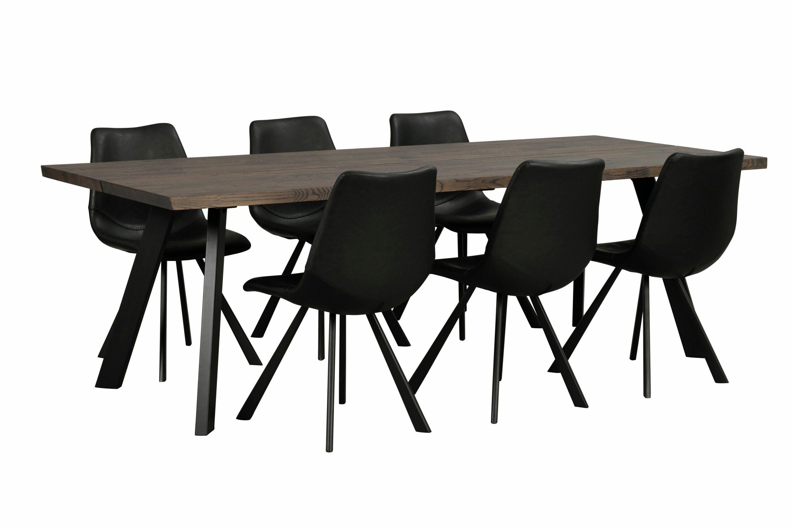 Fred matbord 240×100 mörkbrun ek/svart