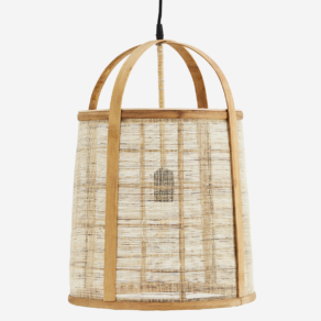 Bamboo ceiling lamp w/linen D:33×47 cm