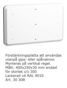 Förstärkningsplatta vitlack 400x250x30mm